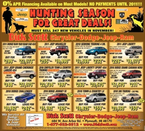 Dick Scott Chrysler Dodge Jeep Ram Huting Season Sale