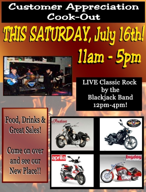 July 16th, 2011 Customer Appreciation Cook-Out 11am-5pm @ Dick Scott's Classic Motorcycles!