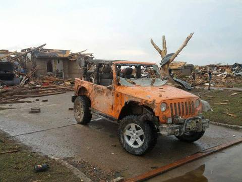 Bryan Hutton's 2012 Jeep Wrangler Rubicon was damaged from the Moore, Okla., tornado -- but it was unstoppable as Bryan used it to help remove debris and assist those in need after the tragic storm. (Image courtest of Bryan Hutton)